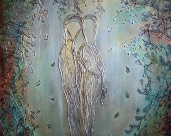 Original Painting Couple Romance OLIVE TREES Textured Art Silver Copper Gold White