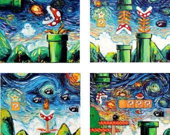 4 PRINT SET - Video Game Art - vintage gaming man cave Starry Night Giclee Gamer print by Aja 8x8 10x10 12x12 20x20 24x24 choose size