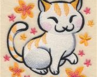 2 hand towels - watercolor kitten - EMBROIDERED terry cloth for kitchen / bath