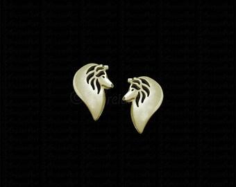 Shetland Sheepdog profile stud earrings - gold.