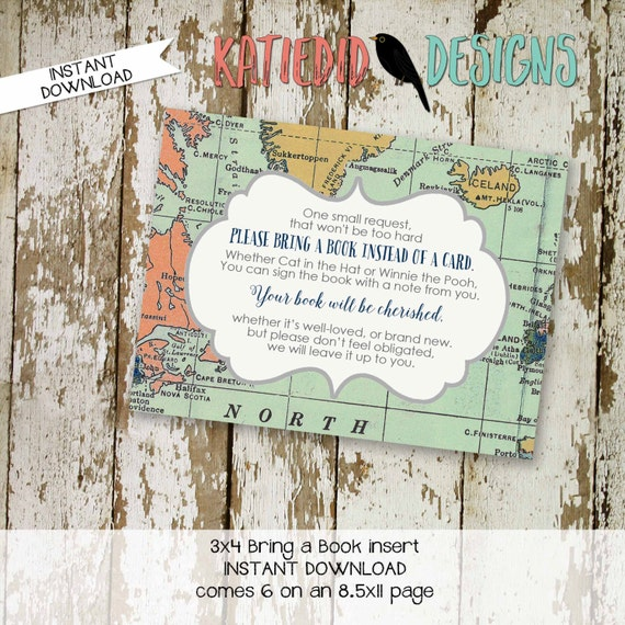 Travel Theme baby shower Invitation insert Adventure Awaits world map Bring a Book instead of a card enclosure card | 1466 Katiedid Designs