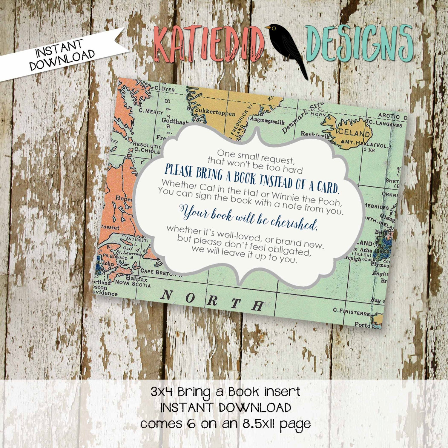 Travel theme baby shower invitation insert adventure awaits world travel theme baby shower invitation insert adventure awaits world map bring a book instead of a card enclosure card 1466 katiedid designs filmwisefo