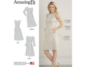 Sz 10/12/14/16/18 - Simplicity Pattern D0549/8258 - Misses' Amazing Fit, Center Seam Dresses with In-Seam Pockets - Simplicity Patterns