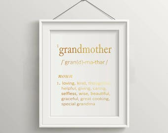 GRANDMOTHER Definition Gold FOIL Typography Art Print -  *Hand-Foiled Decor & Gift Prints,  8x10