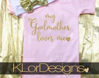 baptism gift, godmother baby gift, Baby Girl outfit, goddaughter gift, godmother gift, my godmother loves me