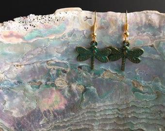 Dragonfly earrings Dainty earrings Blue earrings Drop earrings Pierced earrings Affordable earrings Teenager earrings Women's gifts BFF gift