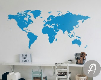 Map of the world decal wall map decal world map sticker world world map wall decal vinyl single color self adhesive peel and stick wall decor ak006 gumiabroncs Gallery
