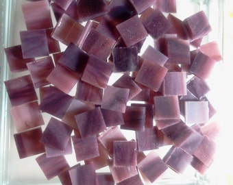 """100 MINI TILES - 3/8"""" Purple Red Plum Opal Stained Glass Mosaic Supply A31"""