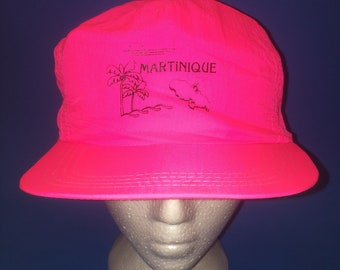Vintage Martinique Trucker SnapBack Hat Neon Pink French Island 1980s