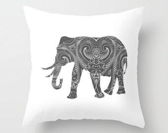 Elephant Storm Grey Gray  Pillow Cover  India Indian Boho Bohemian Mandala Design Indoor or Outdoor Pillow Case 14x14 16x16 18x18 20x20