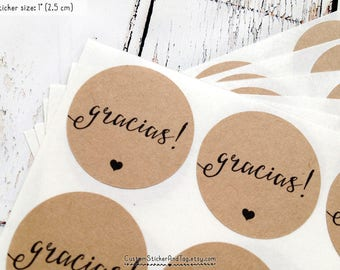 63 gracias stickers, circle stickers, envelope seals, favor stickers, wedding favors, calligraphy stickers, thank you stickers (S-79)