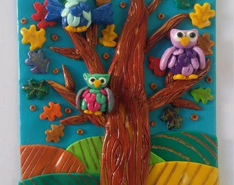 Lucky owls tree magnet-