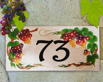 Hand painted house number plaque. Grapes. House sign, Italian house numbers, house numbers, ceramic house number signs, gifts