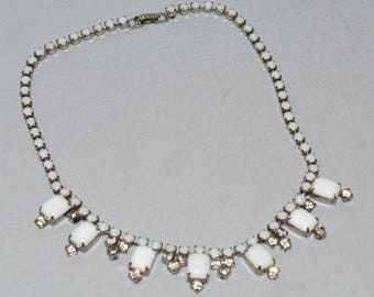 Vintage Necklace - White Milk Glass and Rhinestones, 1950s or 1960s