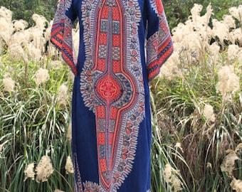 vintage indian cotton dashiki caftan dress blue floral