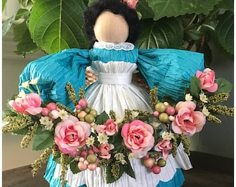 Handmade Spring Doll. Unique Floral Doll. Roses Figurine. Unique Spring Decor. Rose Decor. Corn Husk Doll.  Summer Doll. Gifts for Women