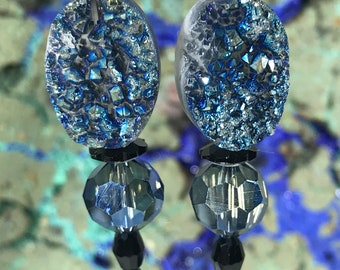 Blue Geode with Crystals Earrings