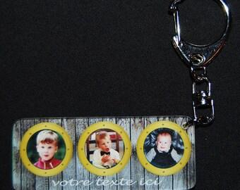 key chain personalized with 3 photo window