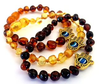 NATURAL BALTIC AMBER Baby Teething Bracelet with Fatima Hand and Turkish Eye Beads