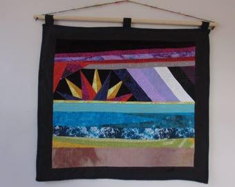 "Sunrise Beach art quilt quilted wallhanging  27"" x 25"" OOAK  twilightdance"