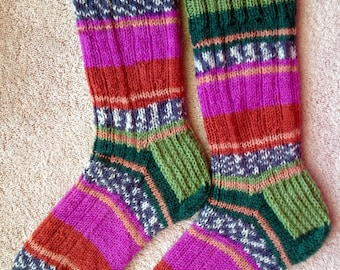 Men's or Women's Hand Knit Superwash Wool Socks (S-209)