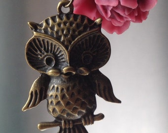 Owl and Rose Pendant