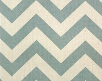 ZigZag Canvas Canvas Fabric - Village Blue / Natural (Blue Zigzag Tula Canvas Fabric) - sold by the 1/2 yard