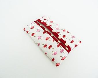 Tissue holder, umbrella fabric, red and white cotton umbrella design, cotton case