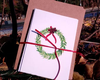 Holiday Card, Wreath Card, Watercolor Card, Hand painted Card, Christmas Cards
