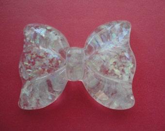 Kawaii big clear pearly bow decoden deco diy flatback resin charm---USA seller