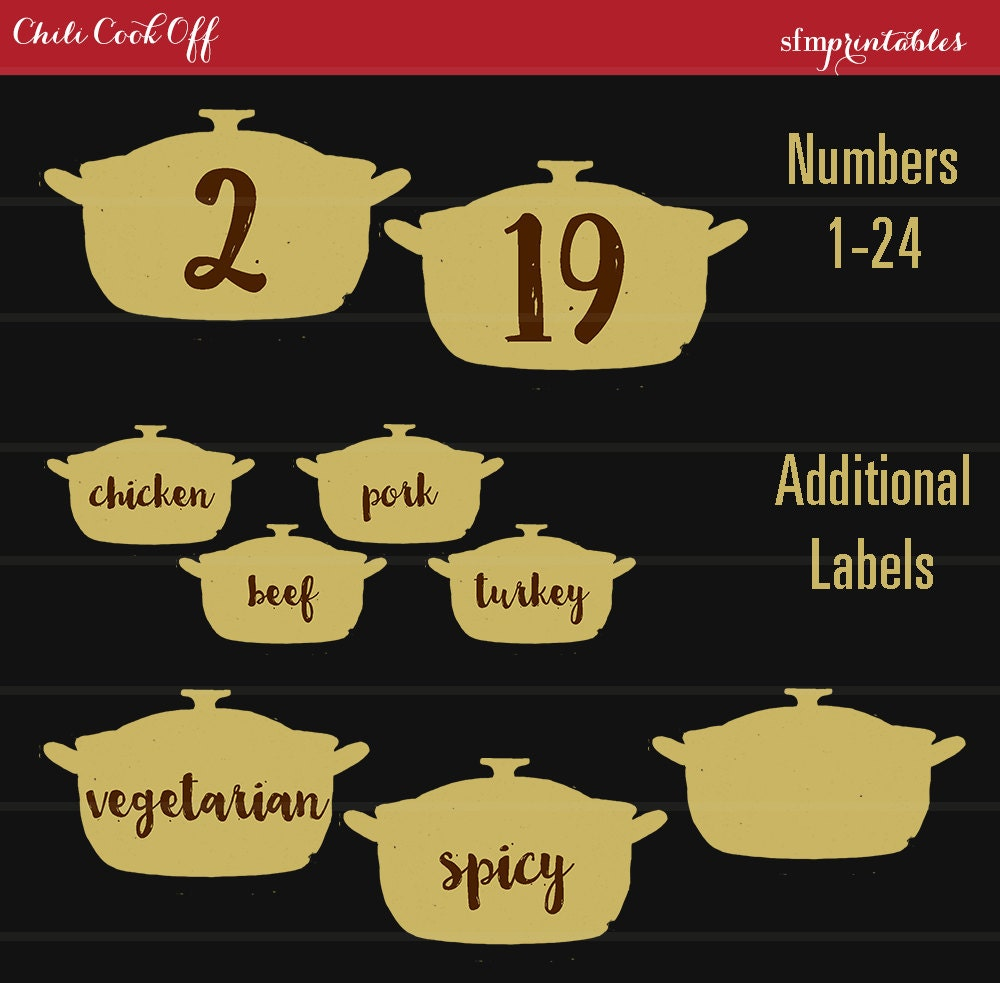 Instant Download Chili Cook Off Entry Numbers Labels /