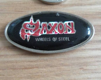 Saxon Vintage pin badge from 1980s