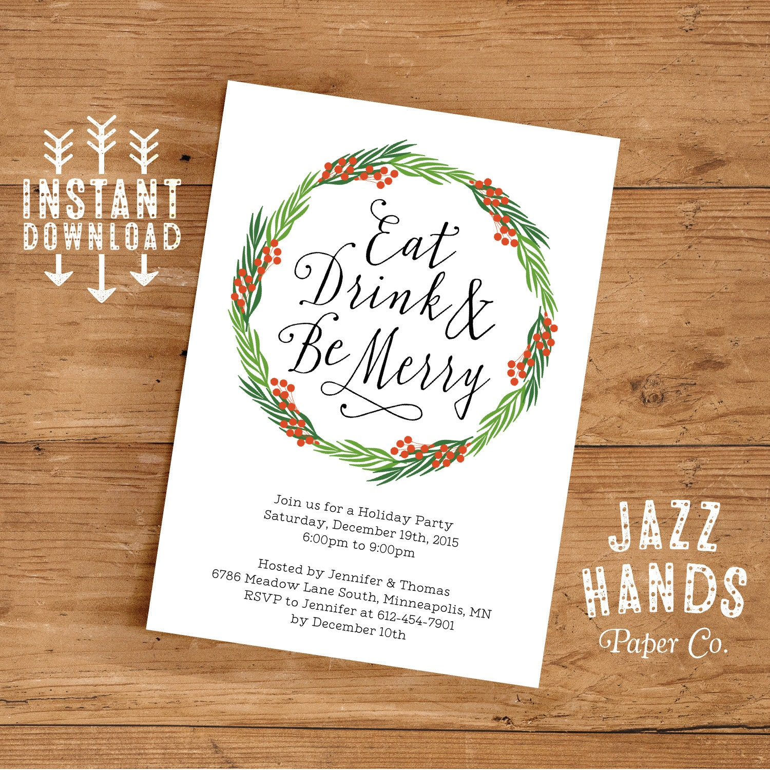 White elephant invitation template diy printable white eat drink and be merry invitation template diy printable holiday invitation wreath solutioingenieria Images