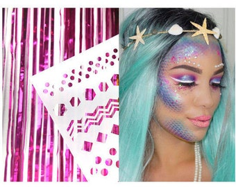 Mermaid Dot Stencil For Face & Body | Festival And Party Hen Party - Chunky Glitter Gems | Beauty Makeup Unicorn Birthday | Face Jewels