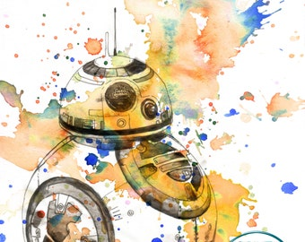 Star Wars Art Print of BB8 Unique Star Wars Baby Nursery Decor Art Poster Gift