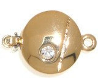 One-Strand Modern Round Box Clasp in Gold or Rhodium Finish with Swarovski Crystal, 12.5mm