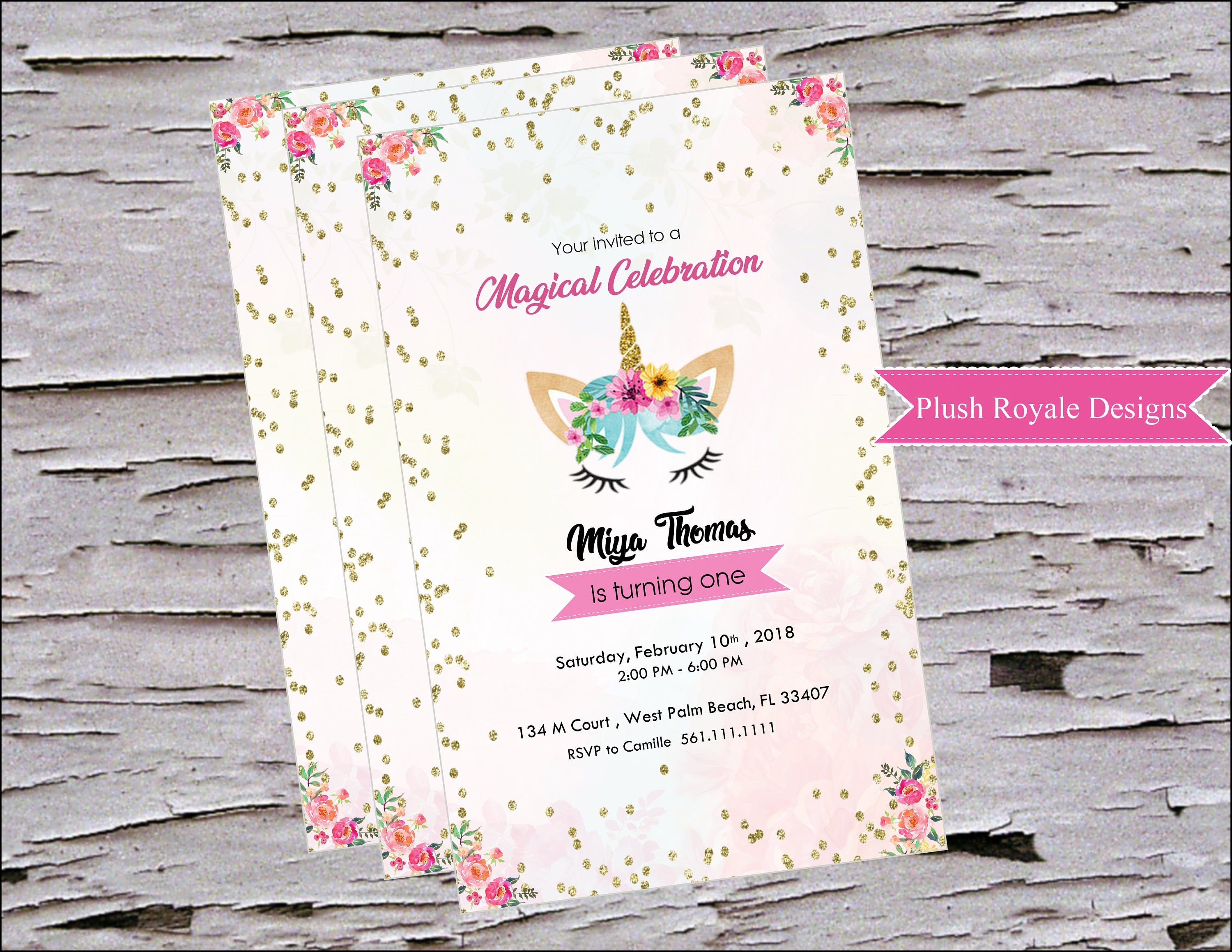 Unicorn Invitations for Magical Unicorn birthday party, Printable ...