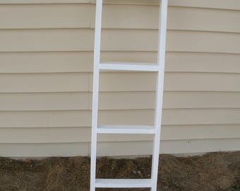 "whitewashed ladder, 42"" wooden ladder, ladder, wood ladder, blanket ladder"