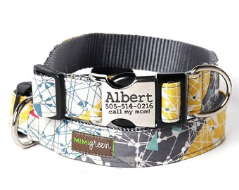 Engraved Buckle Dog Collar 'ALBERT' Personalized with your dog's ID -- Science Design