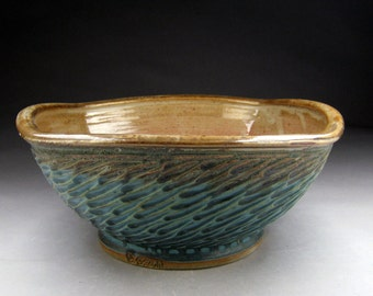 """Handmade Ceramic Vessel Sink- 15"""" - 16"""" Square with Sculpted Design - Made to Order."""