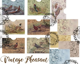 Vintage Pheasant Printable Junk Journal Add ons, Cards Paper