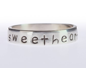 Handstamped Love Band Ring, Silver Stacking Quote Ring, Inspiring Band Ring, Love Silver Motivational Band Ring, Inspirational Stamped Ring