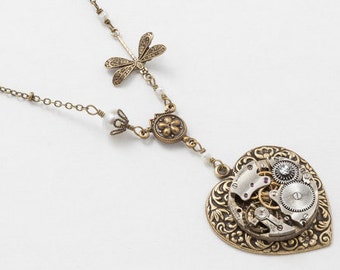 Steampunk Necklace, Gold Heart Pendant, Antique Watch Movement on a Victorian Flower Repousse Heart with Pearl, Crystal & Dragonfly 3010
