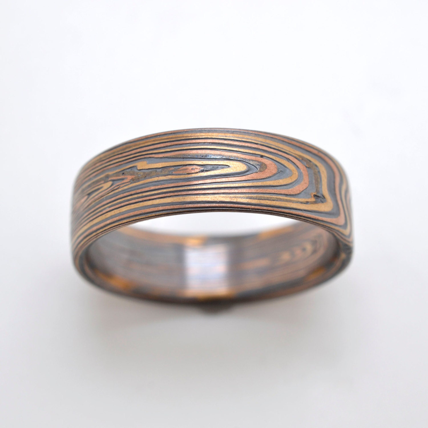 Mokume Gane Ring Wedding Band Vortex Pattern In Oxidized Fire
