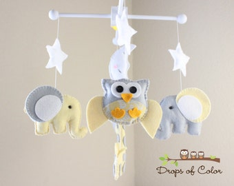 Baby Crib Mobile - Baby Mobile - Owl, Giraffe and Elephant Mobile - Nursery Mobile - Neutral Decor Yellow Gray (You Can Pick Your Colors)