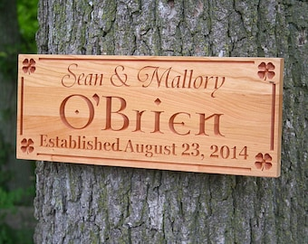 Irish Name Sign, Family Name Sign, Carved Wooden Sign, Benchmark Custom Signs Cherry SK