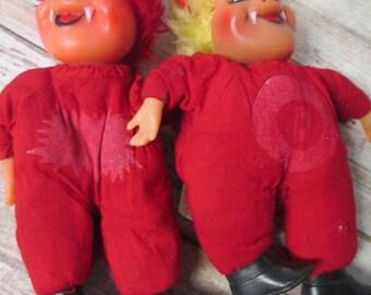 Red Devil Plush and Vinyl Vintage Novelty Doll Plaintalk LTD - Set of 2