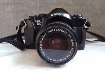 Vintage Carena 100SX 35MM Camera with Super carenar 35-70 mm f/3.5-4.8 Mc Macro and Carena TZ 250 multi-dedicated Flash