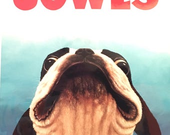 Jowls Boston Terrier print Jaws movie poster parody