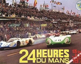 Vintage 1970 Le Mans 24 Hour Race Motor Racing Poster A3 Print